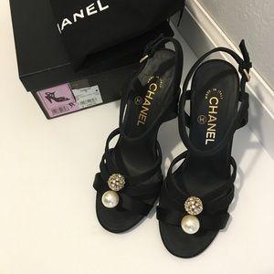 💯 AUTH CHANEL high-heel sandals Sz 37